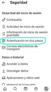 Apartado en Instagram donde podemos activar la Autenticación en dos pasos para evitar hackeos.