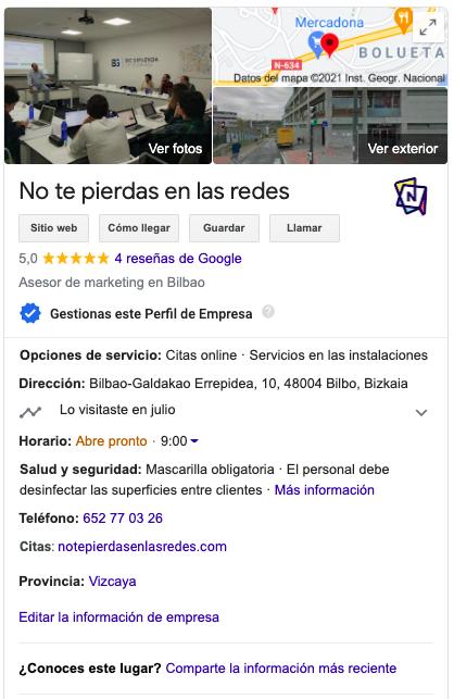 Aspecto de una ficha de google my business